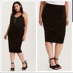 Torrid Black Crushed Velvet Pencil Skirt